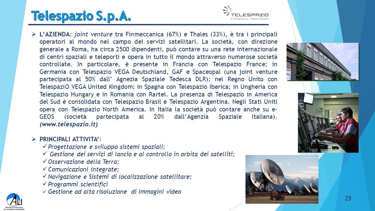  L'AZIENDA: joint venture tra Finmeccanica (67%) e Thales (33%), è tra i principali operatori al mondo nel campo dei servizi satellitari. La società,