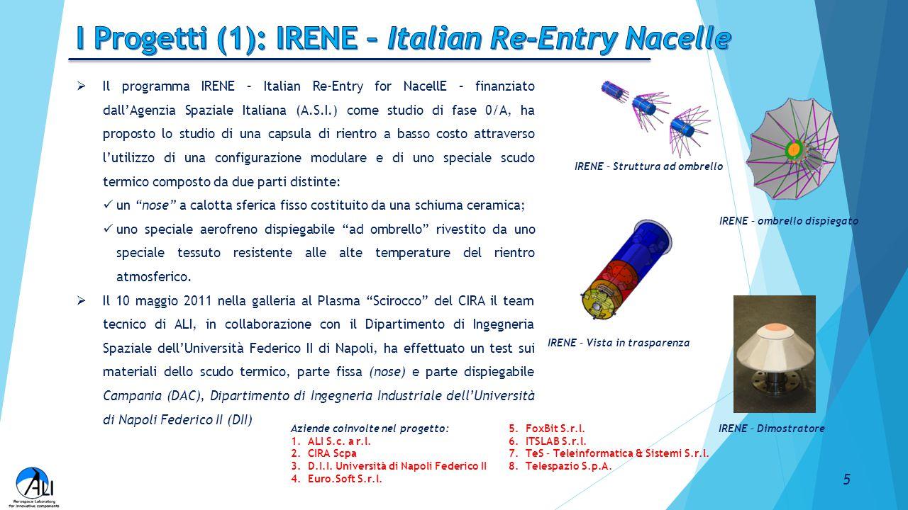  Il programma IRENE – Italian Re-Entry for NacellE – finanziato dall'Agenzia Spaziale Italiana (A.S.I.) come studio di fase 0/A, ha proposto lo studi