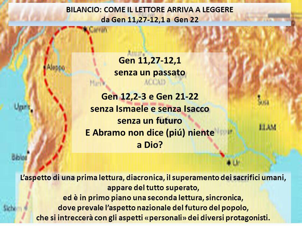 BILANCIO: COME IL LETTORE ARRIVA A LEGGERE GEN 22 BILANCIO: COME IL LETTORE ARRIVA A LEGGERE da Gen 11,27-12,1 a Gen 22 Gen 11,27-12,1 senza un passato Gen 12,2-3 e Gen 21-22 senza Ismaele e senza Isacco senza un futuro E Abramo non dice (piú) niente a Dio.