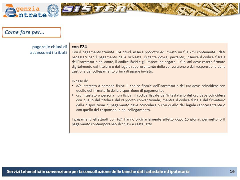 16 Come fare per… Servizi telematici in convenzione per la consultazione delle banche dati catastale ed ipotecaria pagare le chiavi di accesso ed i tr