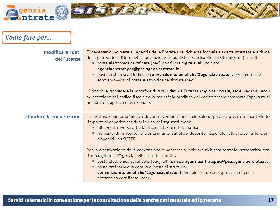 17 Come fare per… Servizi telematici in convenzione per la consultazione delle banche dati catastale ed ipotecaria modificare i dati dell'utenza E' ne