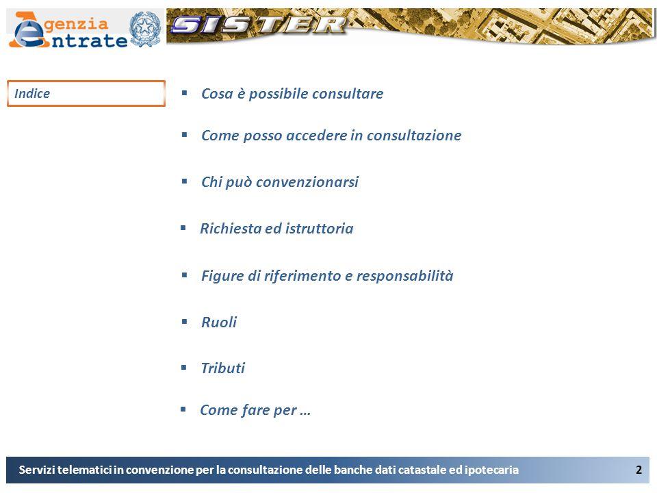 Indice 2 Servizi telematici in convenzione per la consultazione delle banche dati catastale ed ipotecaria  Cosa è possibile consultare  Come posso a
