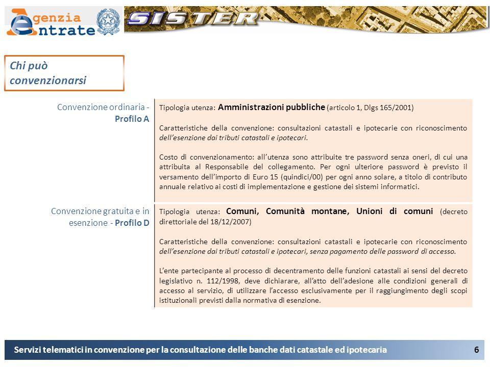 6 Servizi telematici in convenzione per la consultazione delle banche dati catastale ed ipotecaria Chi può convenzionarsi Convenzione ordinaria - Prof