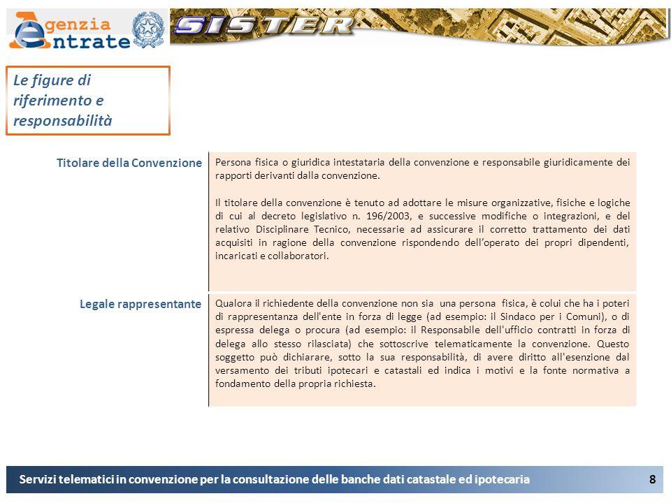 8 Le figure di riferimento e responsabilità Servizi telematici in convenzione per la consultazione delle banche dati catastale ed ipotecaria Le figure