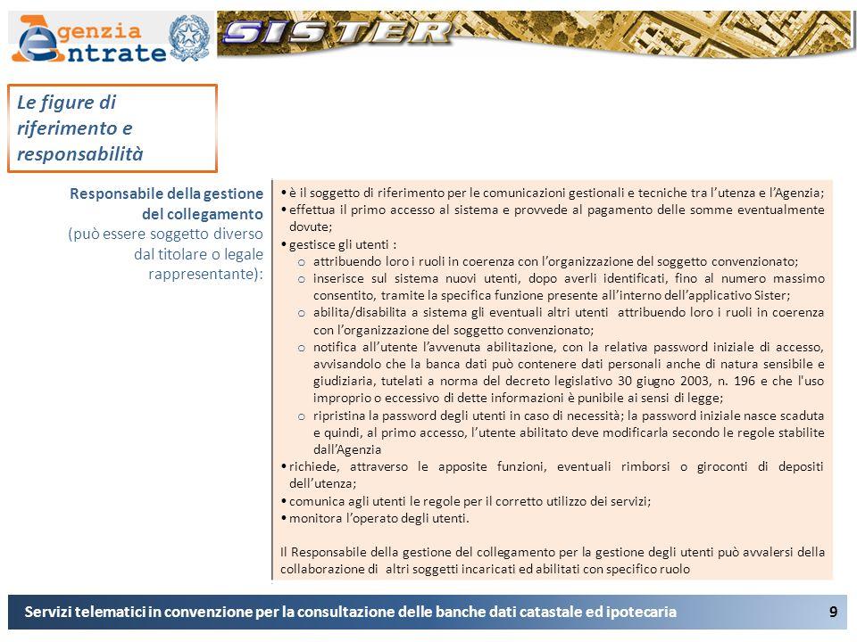 9 Le figure di riferimento e responsabilità Servizi telematici in convenzione per la consultazione delle banche dati catastale ed ipotecaria Responsab