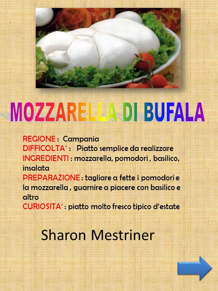 REGIONE : Campania DIFFICOLTA ' : Piatto semplice da realizzare INGREDIENTI : mozzarella, pomodori, basilico, insalata PREPARAZIONE : tagliare a fette