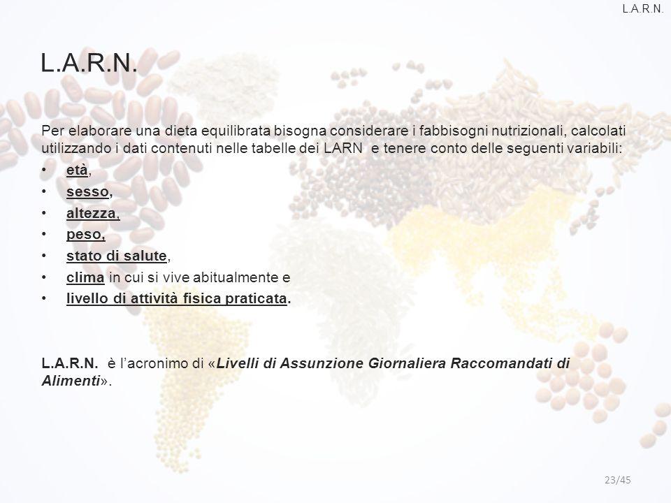 L.A.R.N. 23/45 Per elaborare una dieta equilibrata bisogna considerare i fabbisogni nutrizionali, calcolati utilizzando i dati contenuti nelle tabelle