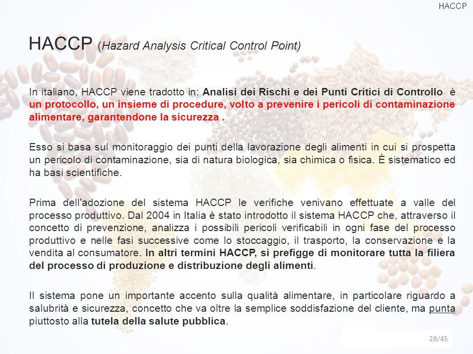 HACCP (Hazard Analysis Critical Control Point) 28 In italiano, HACCP viene tradotto in: Analisi dei Rischi e dei Punti Critici di Controllo è un proto