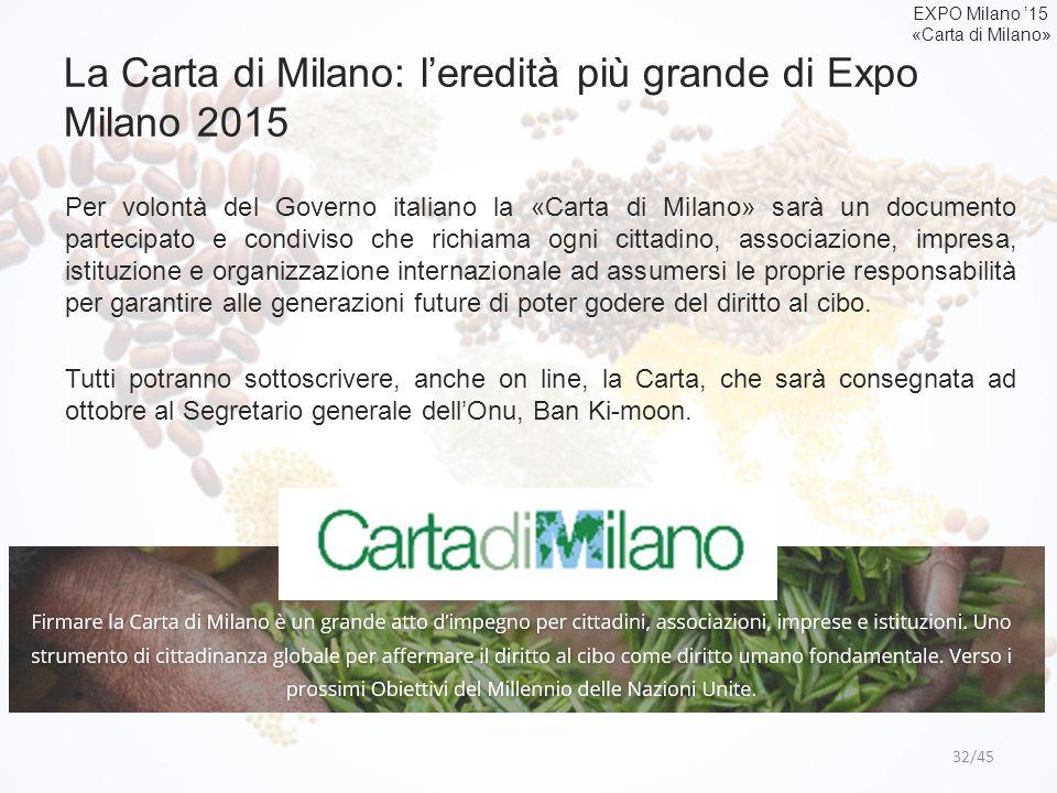 La Carta di Milano: l'eredità più grande di Expo Milano 2015 32/45 Per volontà del Governo italiano la «Carta di Milano» sarà un documento partecipato