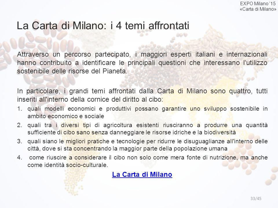 La Carta di Milano: i 4 temi affrontati 33/45 Attraverso un percorso partecipato, i maggiori esperti italiani e internazionali hanno contribuito a ide