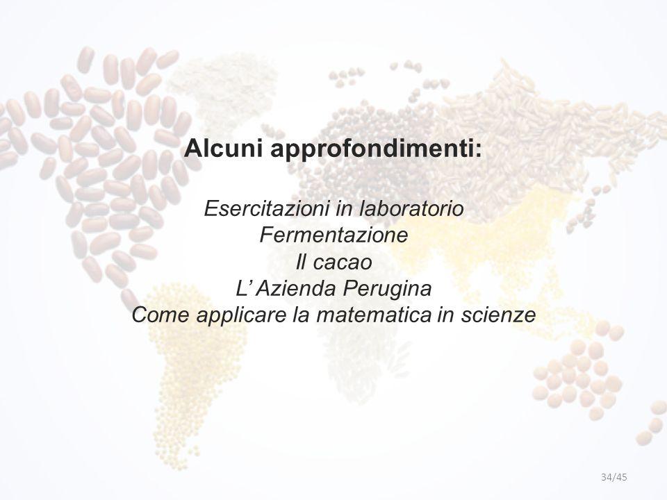 Alcuni approfondimenti: Esercitazioni in laboratorio Fermentazione Il cacao L' Azienda Perugina Come applicare la matematica in scienze 34/45