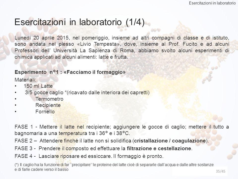 Esercitazioni in laboratorio (1/4) 35 Lunedì 20 aprile 2015, nel pomeriggio, insieme ad altri compagni di classe e di istituto, sono andata nel plesso