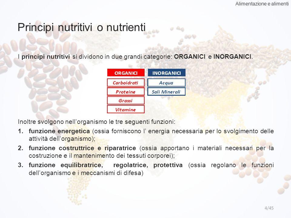 Principi nutritivi o nutrienti 4/45 I principi nutritivi si dividono in due grandi categorie: ORGANICI e INORGANICI. Inoltre svolgono nell'organismo l