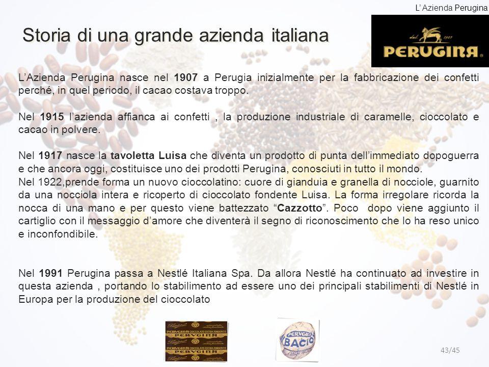 Storia di una grande azienda italiana 43/45 L'Azienda Perugina nasce nel 1907 a Perugia inizialmente per la fabbricazione dei confetti perché, in quel