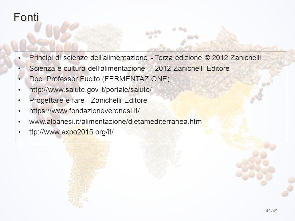 45/45 Fonti Principi di scienze dell'alimentazione - Terza edizione © 2012 Zanichelli Scienza e cultura dell'alimentazione - 2012 Zanichelli Editore D