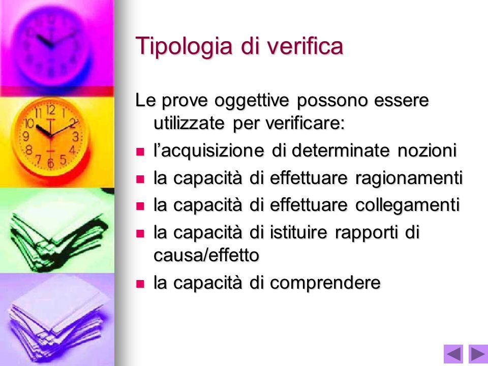 Tipologia di verifica Le prove oggettive possono essere utilizzate per verificare: l'acquisizione di determinate nozioni l'acquisizione di determinate