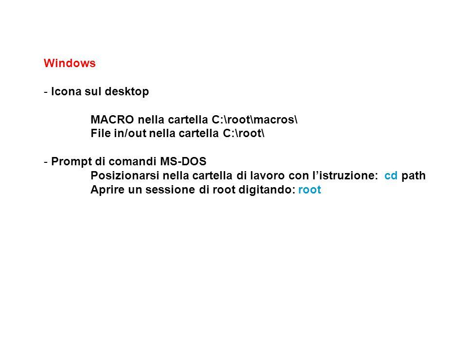Windows - Icona sul desktop MACRO nella cartella C:\root\macros\ File in/out nella cartella C:\root\ - Prompt di comandi MS-DOS Posizionarsi nella car
