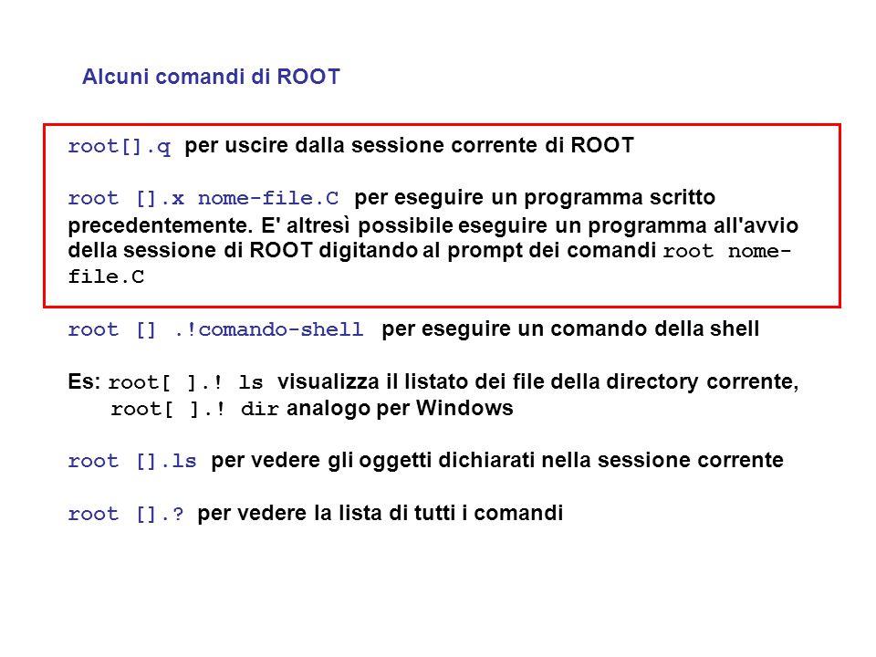 Alcuni comandi di ROOT root[].q per uscire dalla sessione corrente di ROOT root [].x nome-file.C per eseguire un programma scritto precedentemente. E'