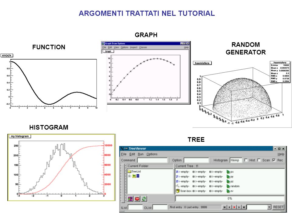 ARGOMENTI TRATTATI NEL TUTORIAL GRAPH HISTOGRAM TREE FUNCTION RANDOM GENERATOR