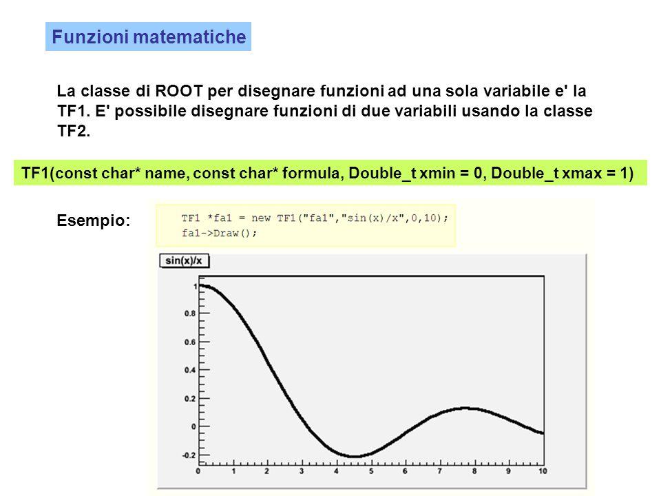 Funzioni matematiche La classe di ROOT per disegnare funzioni ad una sola variabile e' la TF1. E' possibile disegnare funzioni di due variabili usando
