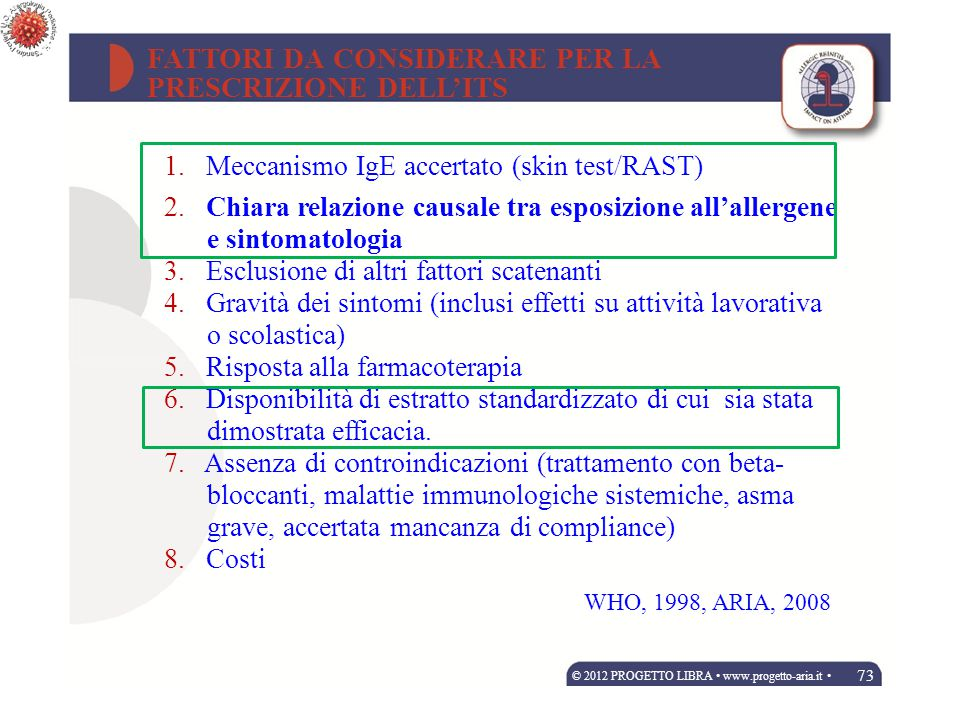 14 allergists about 90 patients each Randomly assigned by climatic area CLINICIANS Stringari G, Tripodi S, Caffarelli C.