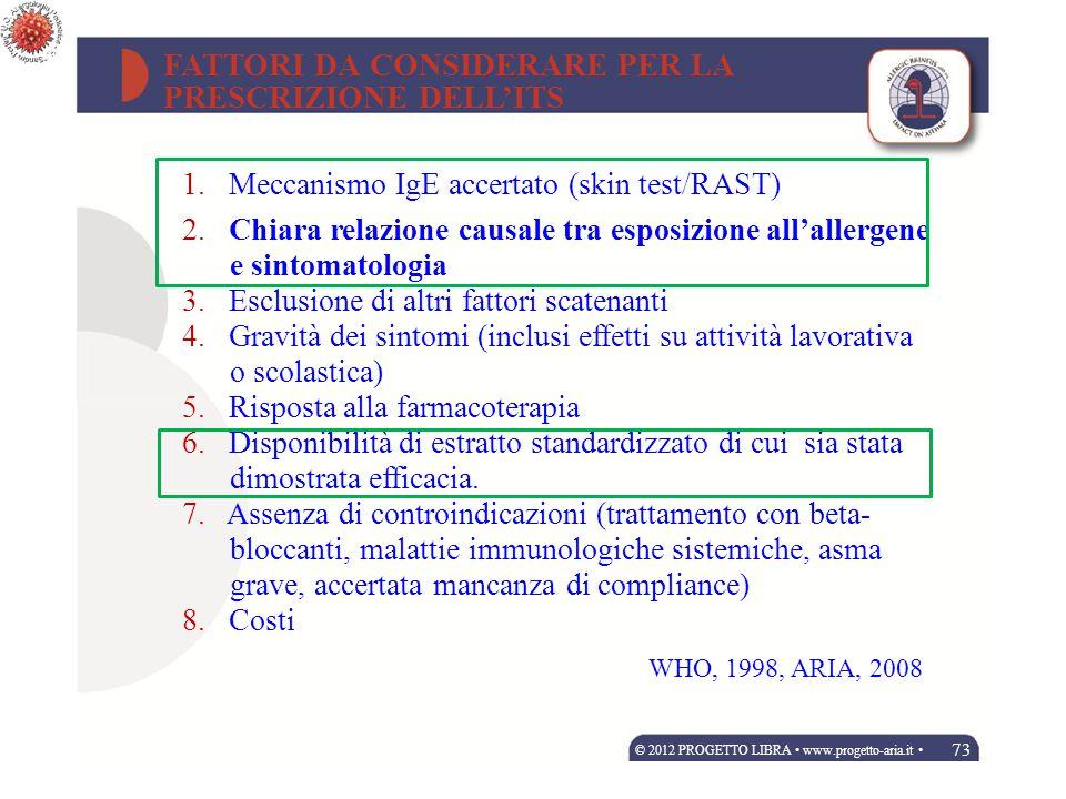 FATTORI DA CONSIDERARE PER LA PRESCRIZIONE DELL'ITS 1. Meccanismo IgE accertato (skin test/RAST) 2. Chiara relazione causale tra esposizione all'aller