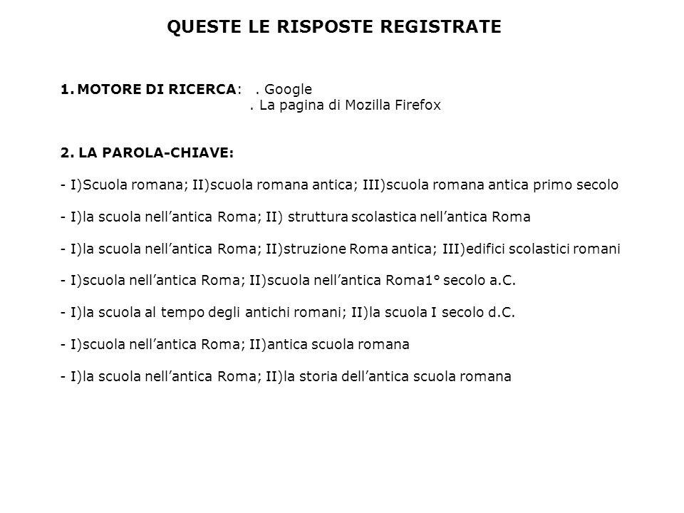QUESTE LE RISPOSTE REGISTRATE 1.MOTORE DI RICERCA:. Google. La pagina di Mozilla Firefox 2. LA PAROLA-CHIAVE: - I)Scuola romana; II)scuola romana anti