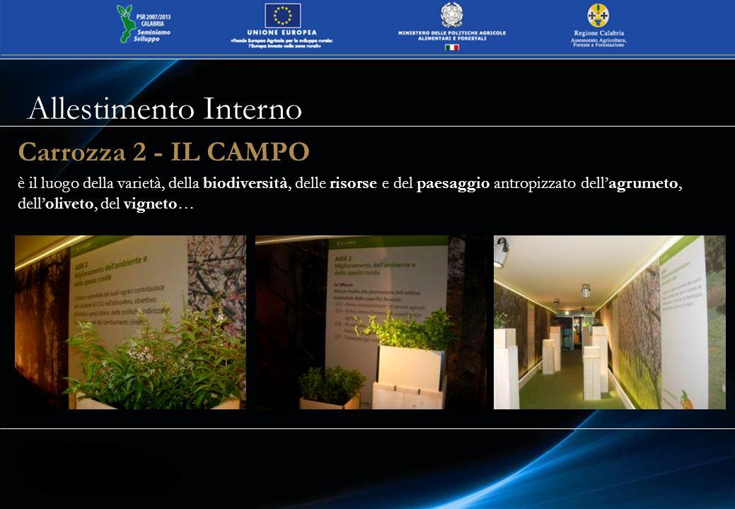 Carrozza 2 - IL CAMPO è il luogo della varietà, della biodiversità, delle risorse e del paesaggio antropizzato dell'agrumeto, dell'oliveto, del vigneto… Allestimento Interno