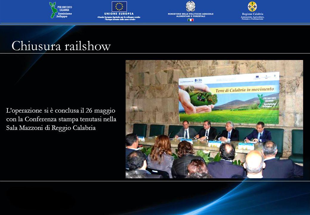 Chiusura railshow L'operazione si è conclusa il 26 maggio con la Conferenza stampa tenutasi nella Sala Mazzoni di Reggio Calabria