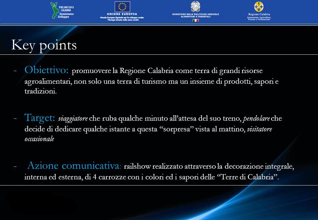 In occasione della tappa inaugurale avvenuta il 9 maggio, è stata organizzata la conferenza stampa nella Sala Reale di Milano Centrale con lo scopo di presentare alla stampa ed al pubblico l'operazione Terre di Calabria in movimento Inaugurazione