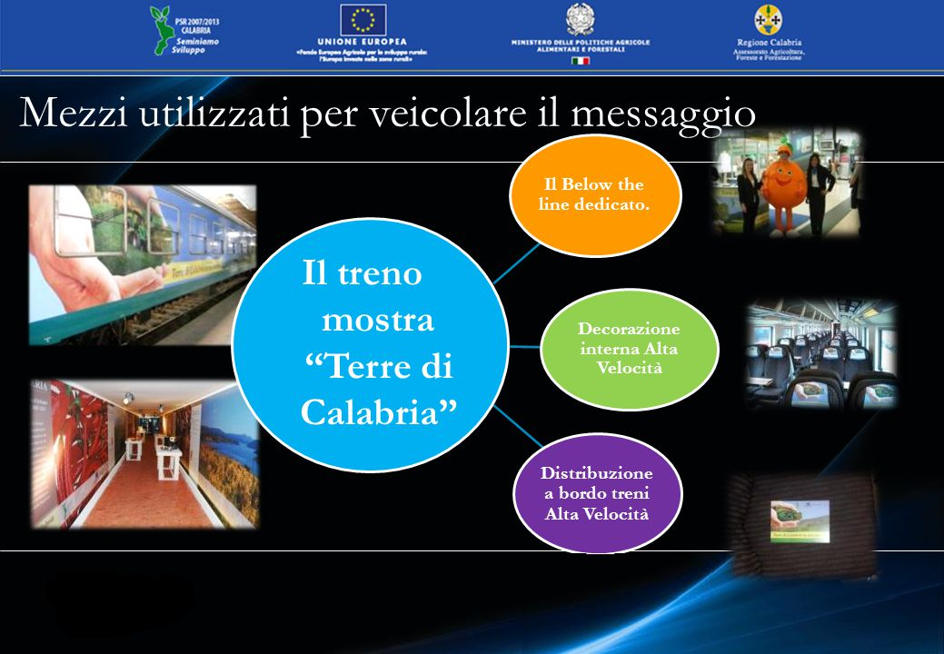 Mezzi utilizzati per veicolare il messaggio Il treno mostra Terre di Calabria