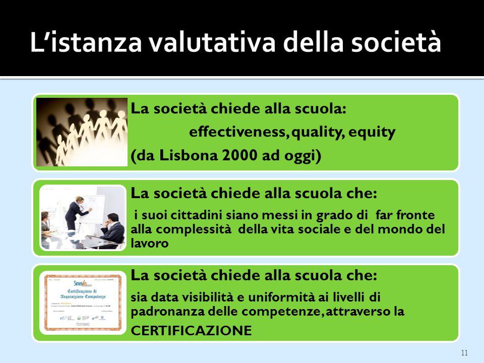 11 La società chiede alla scuola: effectiveness, quality, equity (da Lisbona 2000 ad oggi) La società chiede alla scuola che: i suoi cittadini siano m
