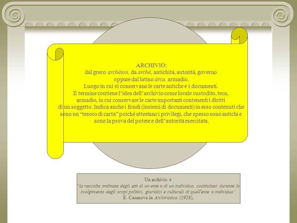 ARCHIVIO: dal greco archèion, da arché, antichità, autorità, governo oppure dal latino àrca, armadio.