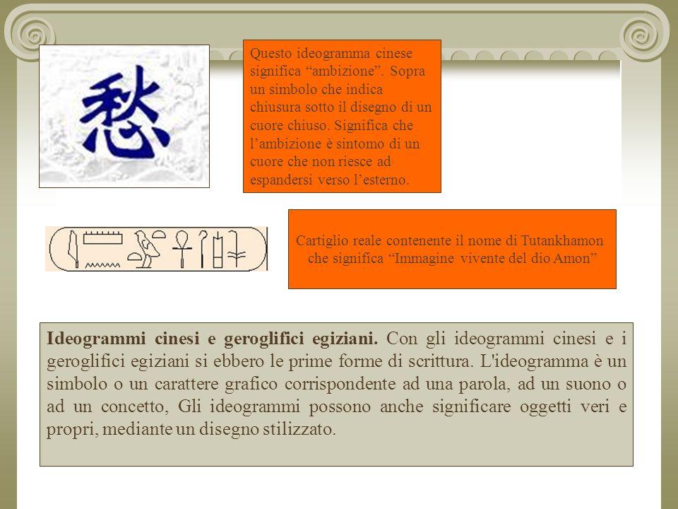Ideogrammi cinesi e geroglifici egiziani.