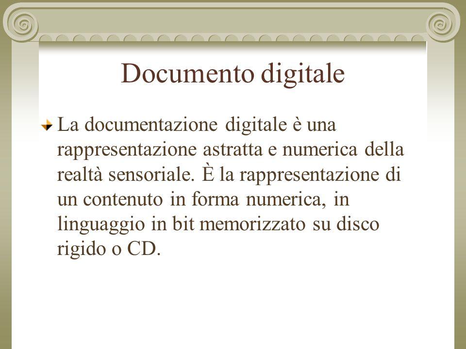 Documento digitale La documentazione digitale è una rappresentazione astratta e numerica della realtà sensoriale.