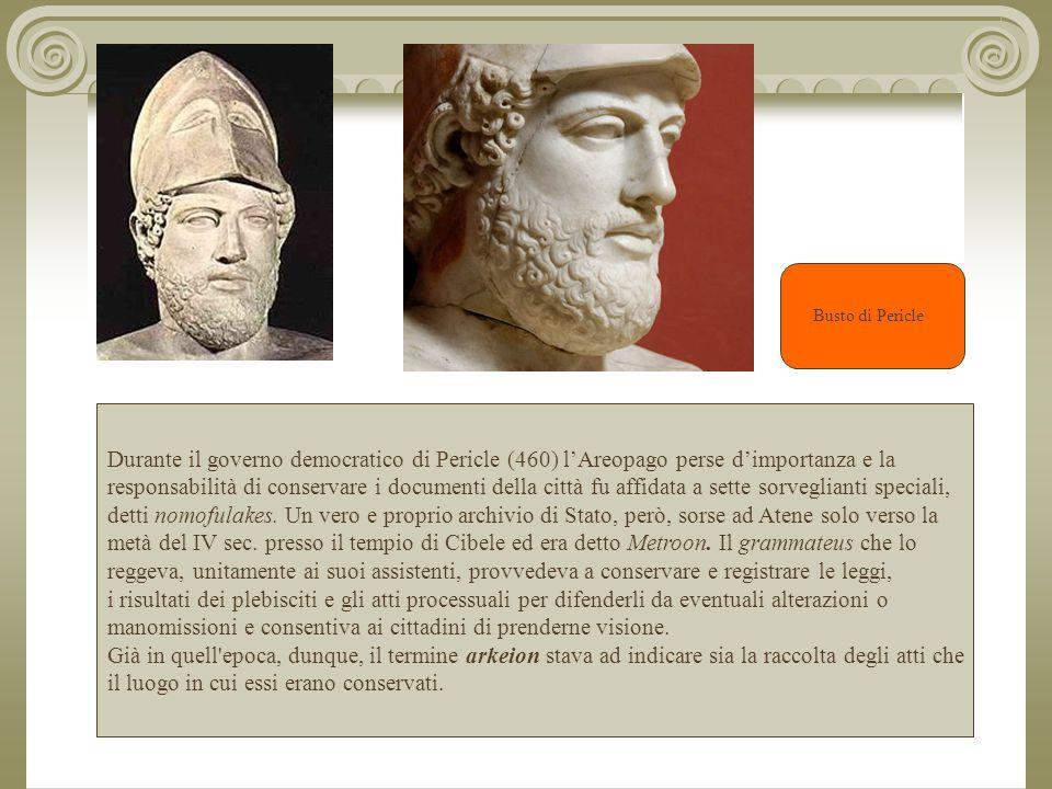 Durante il governo democratico di Pericle (460) l'Areopago perse d'importanza e la responsabilità di conservare i documenti della città fu affidata a sette sorveglianti speciali, detti nomofulakes.