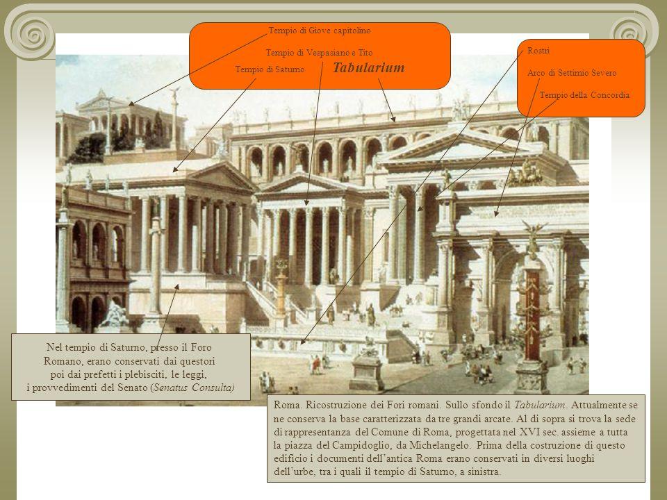 Roma.Ricostruzione dei Fori romani. Sullo sfondo il Tabularium.