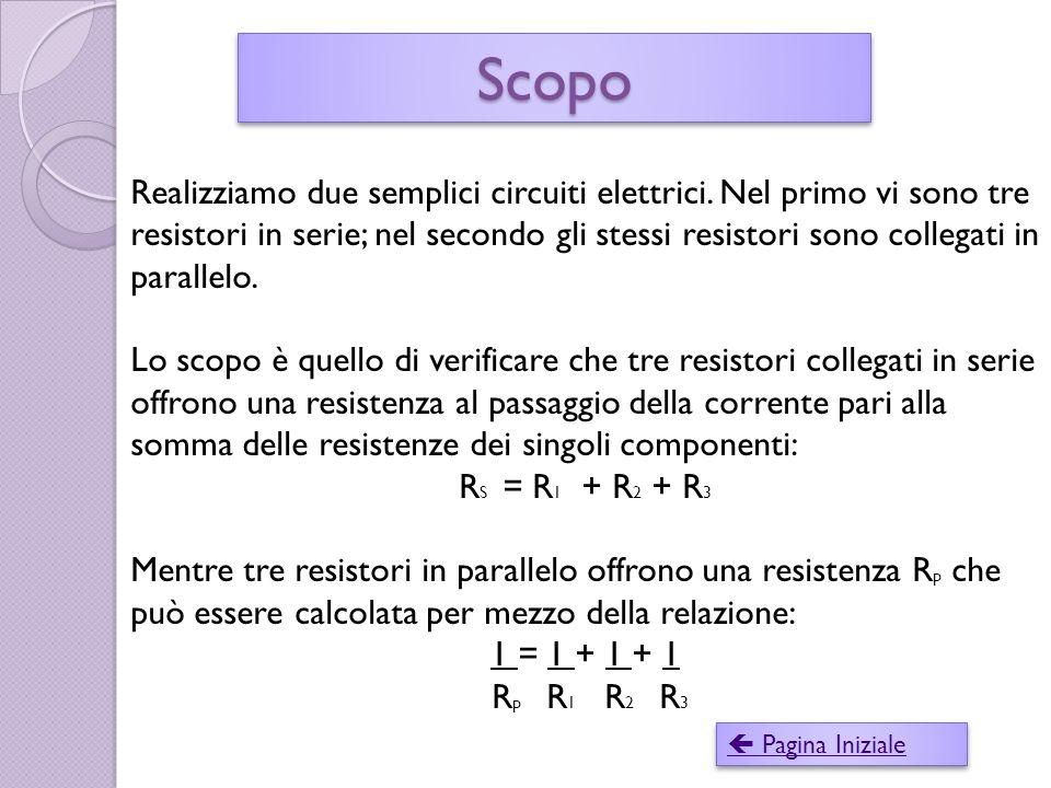 ScopoScopo  Pagina Iniziale  Pagina Iniziale Realizziamo due semplici circuiti elettrici.