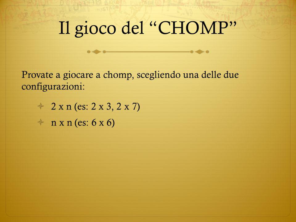 """Il gioco del """"CHOMP"""" Provate a giocare a chomp, scegliendo una delle due configurazioni:  2 x n (es: 2 x 3, 2 x 7)  n x n (es: 6 x 6)"""