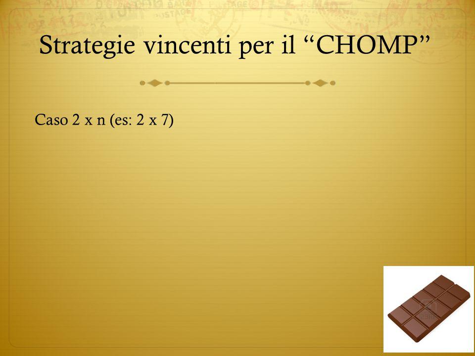 """Strategie vincenti per il """"CHOMP"""" Caso 2 x n (es: 2 x 7)"""
