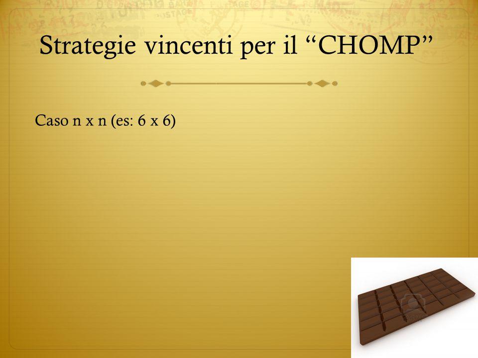 """Strategie vincenti per il """"CHOMP"""" Caso n x n (es: 6 x 6)"""