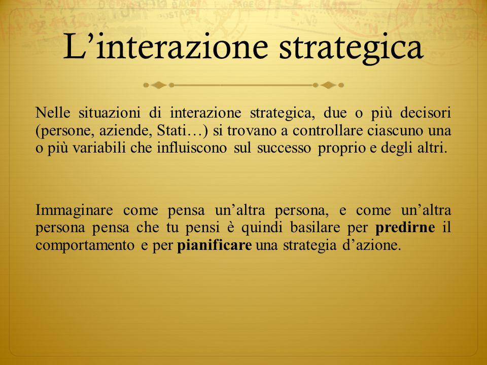 L'interazione strategica Nelle situazioni di interazione strategica, due o più decisori (persone, aziende, Stati…) si trovano a controllare ciascuno u