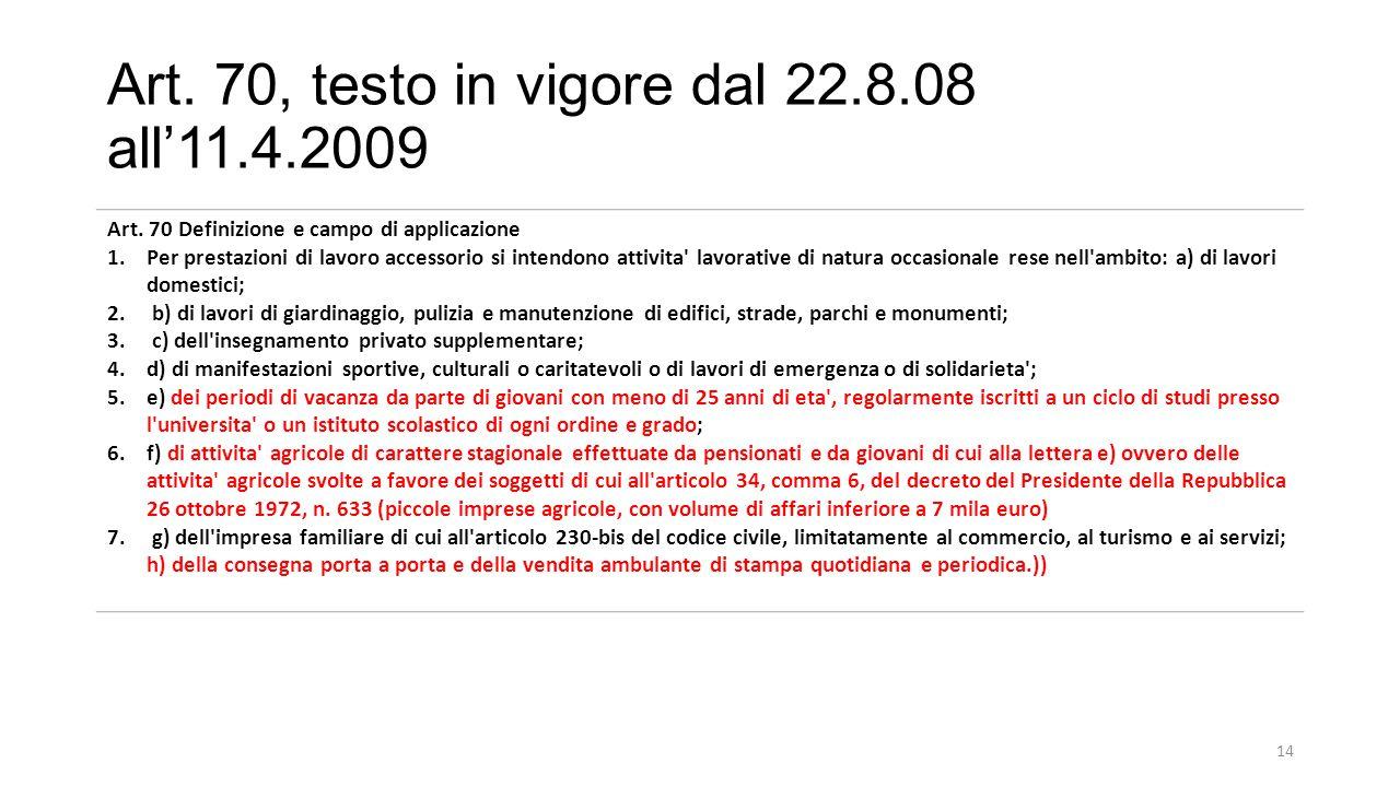 Art.70, testo in vigore dal 22.8.08 all'11.4.2009 Art.