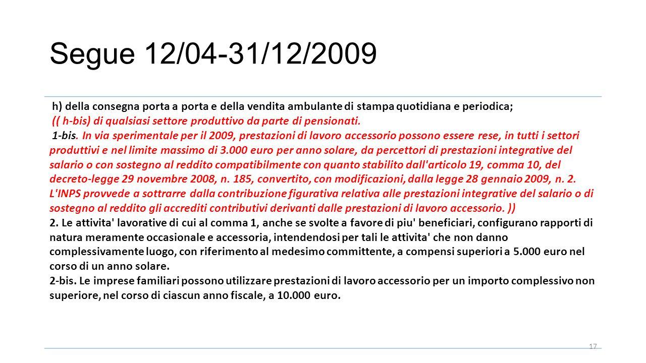 Segue 12/04-31/12/2009 h) della consegna porta a porta e della vendita ambulante di stampa quotidiana e periodica; (( h-bis) di qualsiasi settore produttivo da parte di pensionati.
