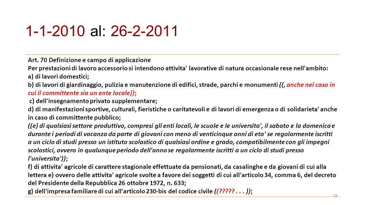 Art. 70 Definizione e campo di applicazione Per prestazioni di lavoro accessorio si intendono attivita' lavorative di natura occasionale rese nell'amb