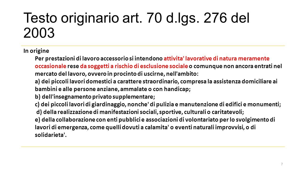 Testo originario art.70 d.lgs.