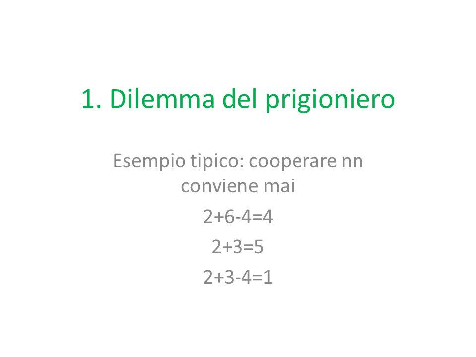 1. Dilemma del prigioniero Esempio tipico: cooperare nn conviene mai 2+6-4=4 2+3=5 2+3-4=1