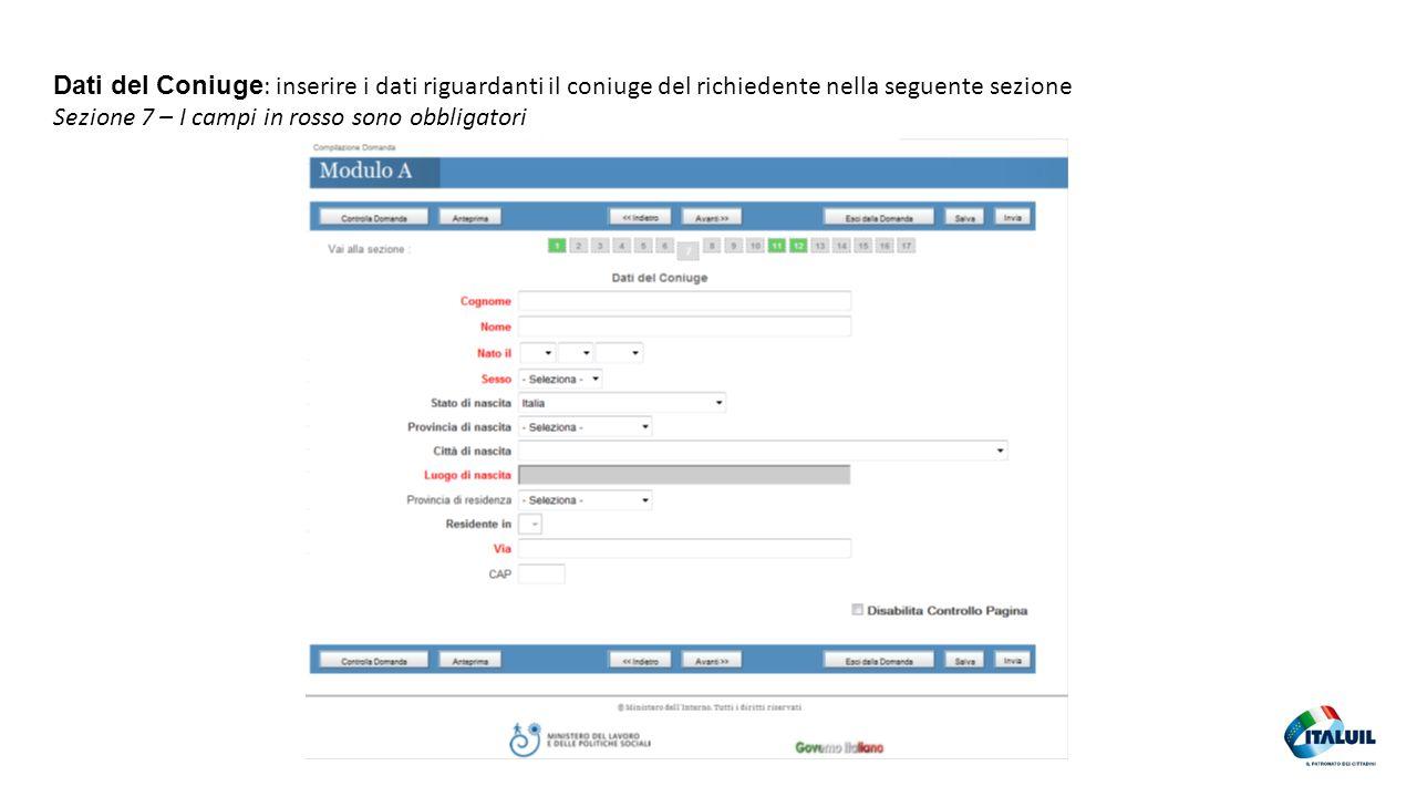 28 Dati del Coniuge : inserire i dati riguardanti il coniuge del richiedente nella seguente sezione Sezione 7 – I campi in rosso sono obbligatori