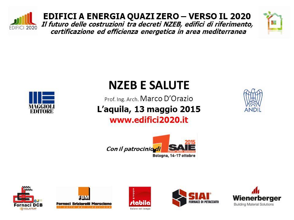 EDIFICI A ENERGIA QUAZI ZERO – VERSO IL 2020 Il futuro delle costruzioni tra decreti NZEB, edifici di riferimento, certificazione ed efficienza energetica in area mediterranea NZEB E SALUTE Prof.