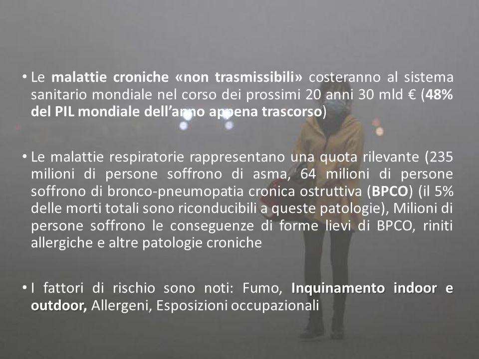 Le malattie croniche «non trasmissibili» costeranno al sistema sanitario mondiale nel corso dei prossimi 20 anni 30 mld € (48% del PIL mondiale dell'anno appena trascorso) Le malattie respiratorie rappresentano una quota rilevante (235 milioni di persone soffrono di asma, 64 milioni di persone soffrono di bronco-pneumopatia cronica ostruttiva (BPCO) (il 5% delle morti totali sono riconducibili a queste patologie), Milioni di persone soffrono le conseguenze di forme lievi di BPCO, riniti allergiche e altre patologie croniche Inquinamento indoor e outdoor I fattori di rischio sono noti: Fumo, Inquinamento indoor e outdoor, Allergeni, Esposizioni occupazionali